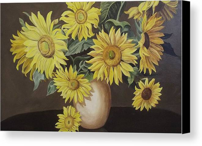 Flowers Canvas Print featuring the painting Sunshine And Sunflowers by Wanda Dansereau