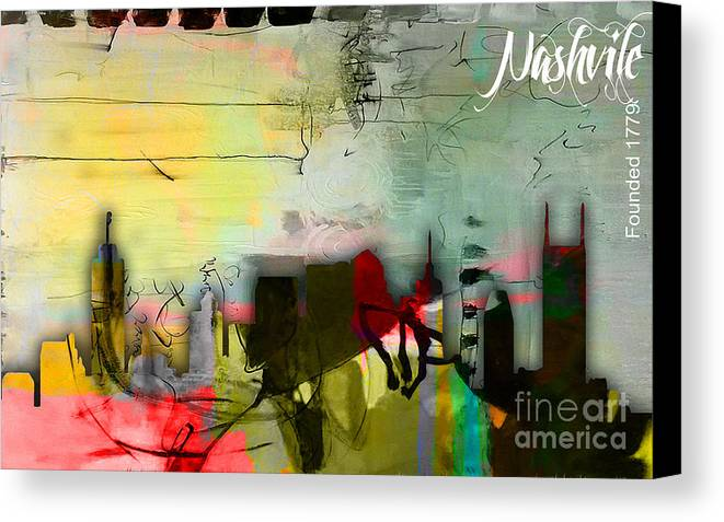 Nashville Art Canvas Print featuring the mixed media Nashville Skyline Watercolor by Marvin Blaine