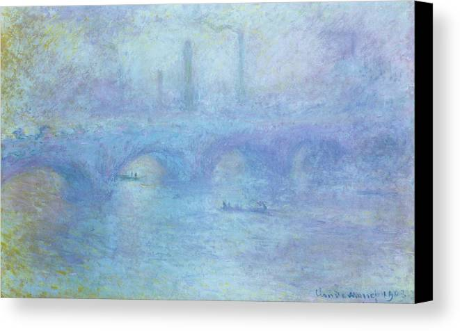 Foggy Canvas Print featuring the painting Waterloo Bridge by Claude Monet