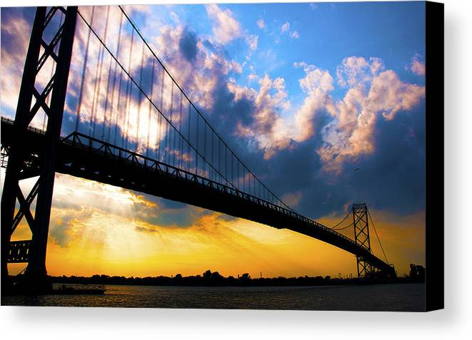 Landscape Canvas Print featuring the photograph Ambassador Bridge by Brian Cadwallader