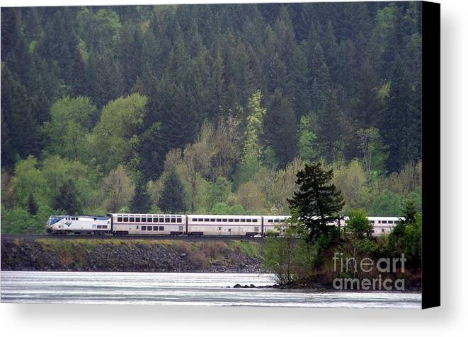 Amtrak Canvas Print featuring the photograph Amtrak Westbound by Charles Robinson