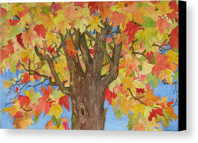 Leaves Canvas Print featuring the painting Autumn Leaves 1 by Mary Ellen Mueller Legault