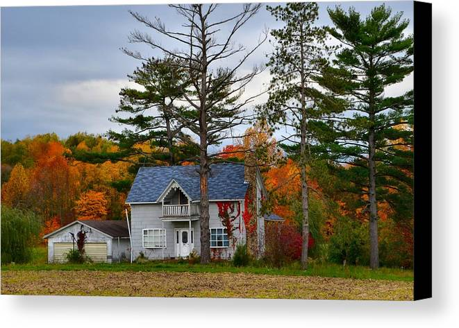 Autumn Scenes Canvas Print featuring the photograph Country Cottage In Autumn by Julie Dant