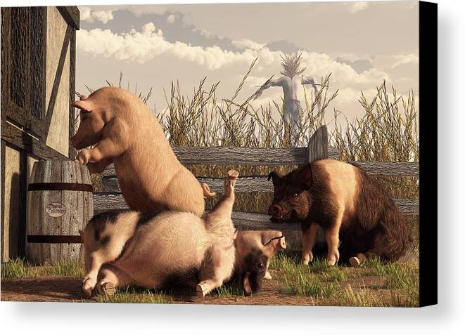Pig Art Canvas Print featuring the digital art Drunken Pigs by Daniel Eskridge