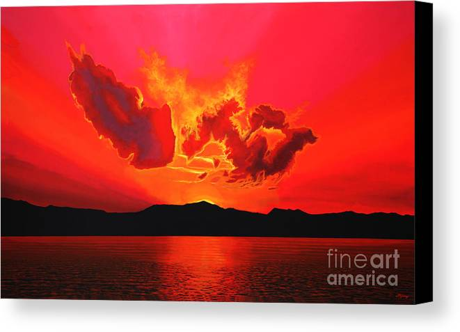 Paul Meijering Canvas Print featuring the painting Earth Sunset by Paul Meijering