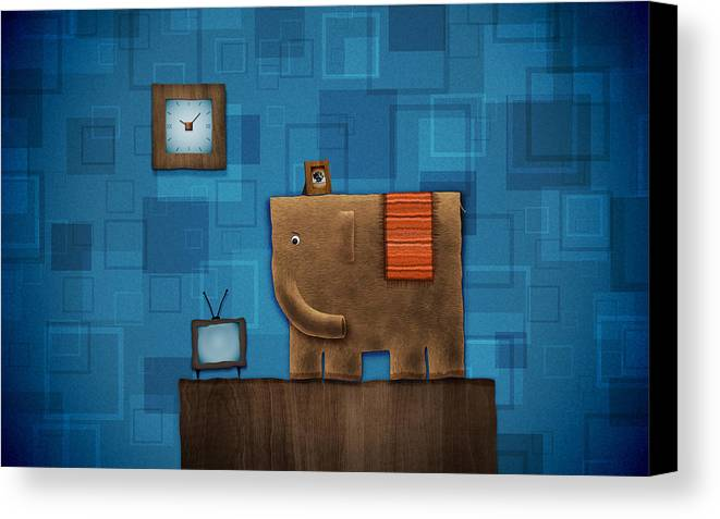 Abstract Canvas Print featuring the drawing Elephant On The Wall by Gianfranco Weiss