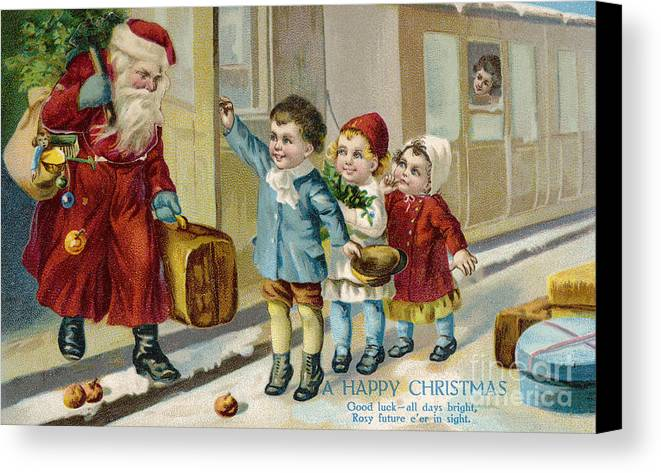 History Canvas Print featuring the photograph Father Christmas Disembarking Train by Mary Evans