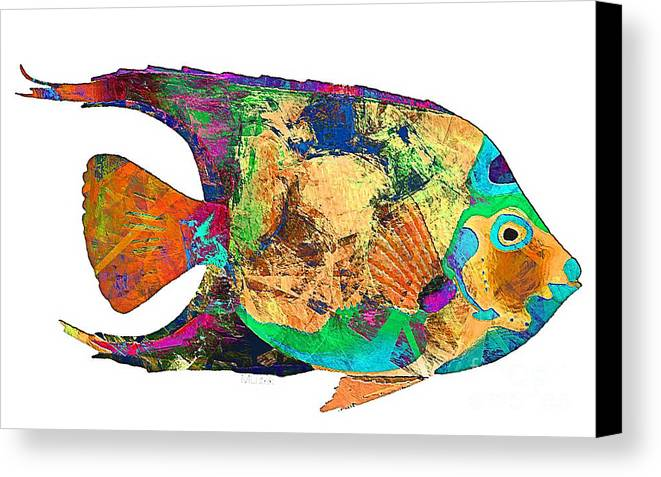 Abstract Canvas Print featuring the digital art Fish 503-11-13 Marucii by Marek Lutek