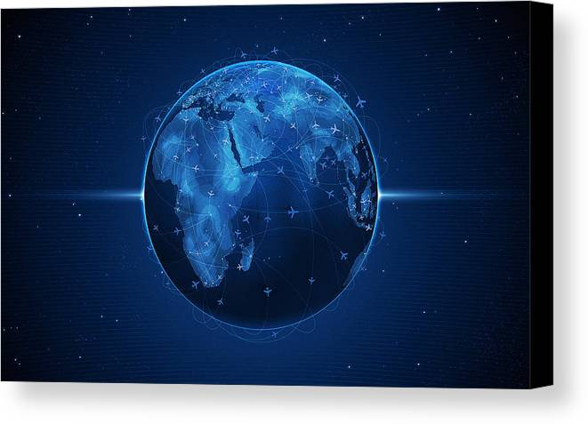 Abstract Canvas Print featuring the digital art Flights And Earth by Gianfranco Weiss