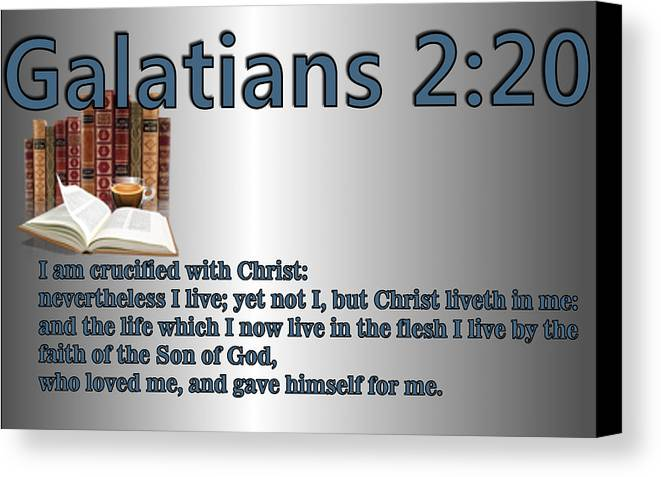 Christ Canvas Print featuring the digital art Galatians 2 20 by Ricky Jarnagin
