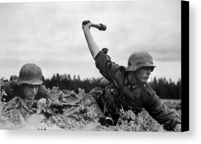 History Canvas Print featuring the photograph German Troops During The Invasion by Everett