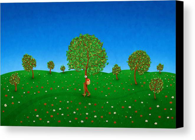 Abstract Canvas Print featuring the digital art Happy Walking Tree by Gianfranco Weiss