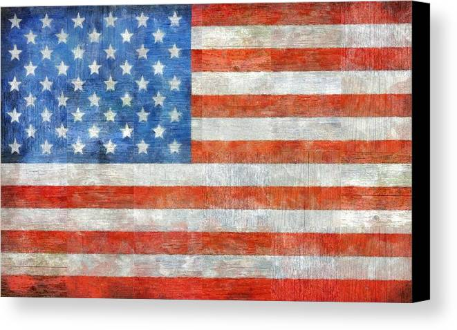 Flag Canvas Print featuring the painting Homeland by Michelle Calkins