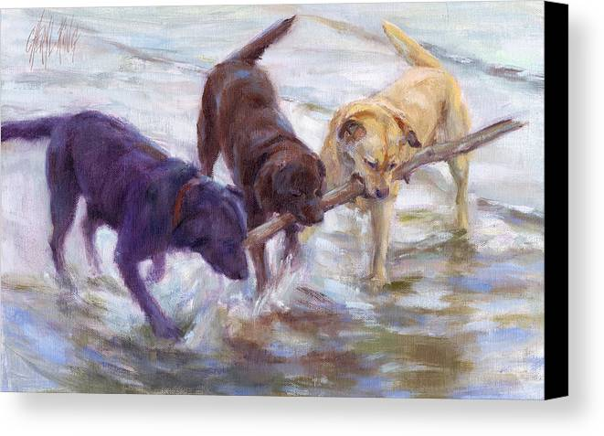 Labrador Retreiver Canvas Print featuring the painting Lab Values by Cheryl King