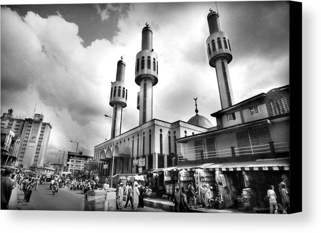 Lagos At Fifty Canvas Print featuring the photograph Lagos Central Mosque by Muyiwa OSIFUYE