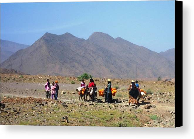Morocco Canvas Print featuring the photograph Life On The Atlas Mountains by Teresa Ruiz