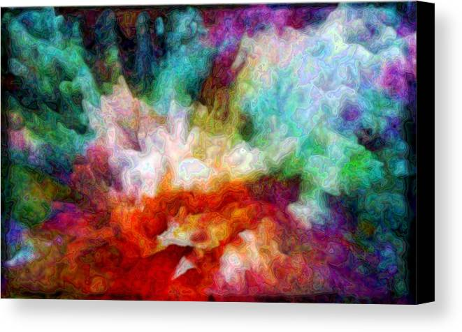 Abstract Canvas Print featuring the digital art Liquid Colors - Enamel Edition by Lilia D