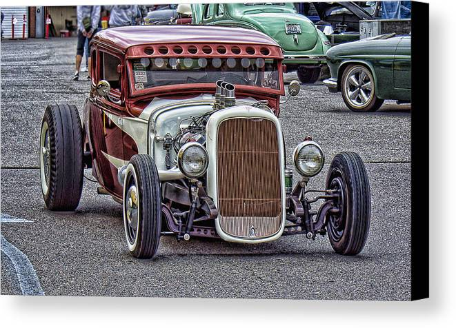 Hot Rod Canvas Print featuring the photograph Low And Fast by Ron Roberts