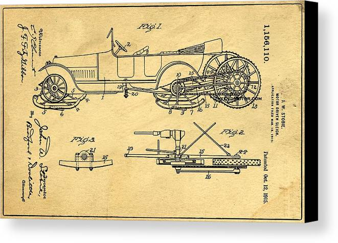 Retro Revival Canvas Print featuring the photograph Motor Driven Sleigh Support Patent Drawing From 1915 1 by Samir Hanusa