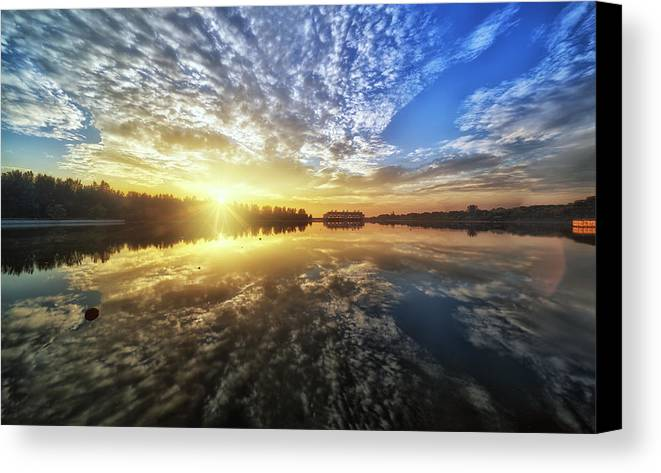 Landscape Canvas Print featuring the photograph Nature Reflection by Partha Roy