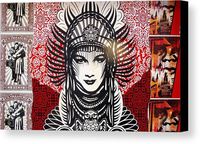 Obey Peace Goddess Wall Collage Canvas Print / Canvas Art by Arik ...
