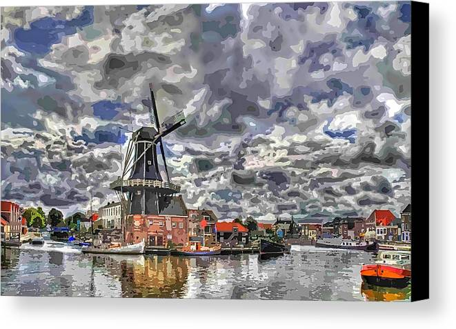 Old Windmill Canvas Print featuring the digital art Old Windmill On The Shore by Maciej Froncisz