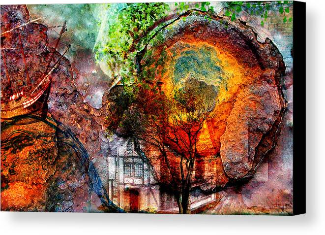 Weird Canvas Print featuring the mixed media Past Or Future? by Ally White