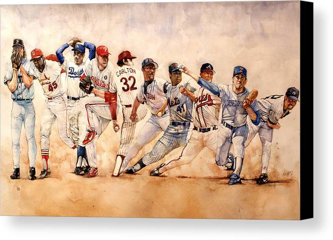 Pitchers Canvas Print featuring the painting Pitching Windup by Michael Pattison