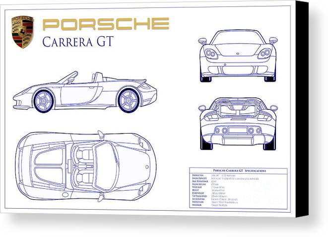 Porsche carrera gt blueprint canvas print canvas art by jon neidert porsche carrera gt blueprint canvas print featuring the photograph porsche carrera gt blueprint by jon neidert malvernweather Images