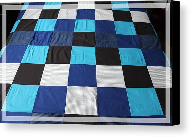 Quilts Canvas Print featuring the tapestry - textile Quilt Blue Blocks by Barbara Griffin
