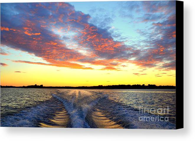 Sunset Canvas Print featuring the photograph Racing Home Before The Sun Sets by Linda Rae Cuthbertson
