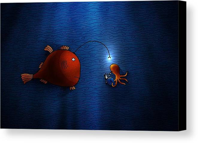 Abstract Canvas Print featuring the digital art Reading Buddies by Gianfranco Weiss
