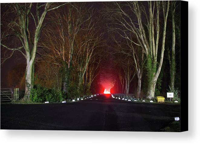 Light Canvas Print featuring the photograph Red Light, Smoke And Flames Glowing by John Short