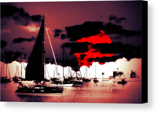 Sailboat Canvas Print featuring the photograph Sailboats In The Marina Surreal 2 by Aurelio Zucco