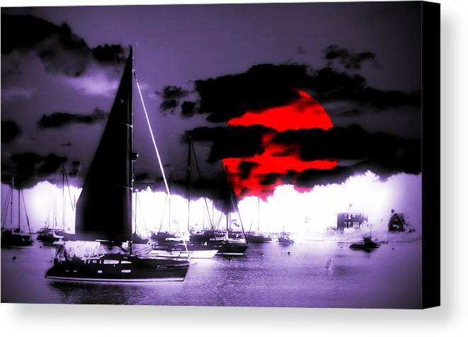 Sailboat Canvas Print featuring the photograph Sailboats In The Marina Surreal 3 by Aurelio Zucco