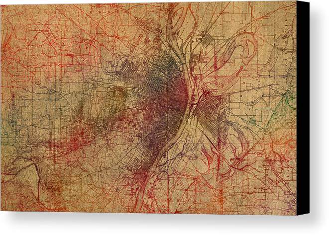 Saint Louis Canvas Print featuring the mixed media Saint Louis Missouri Street Map Schematic Watercolor On Old Parchment From 1903 by Design Turnpike