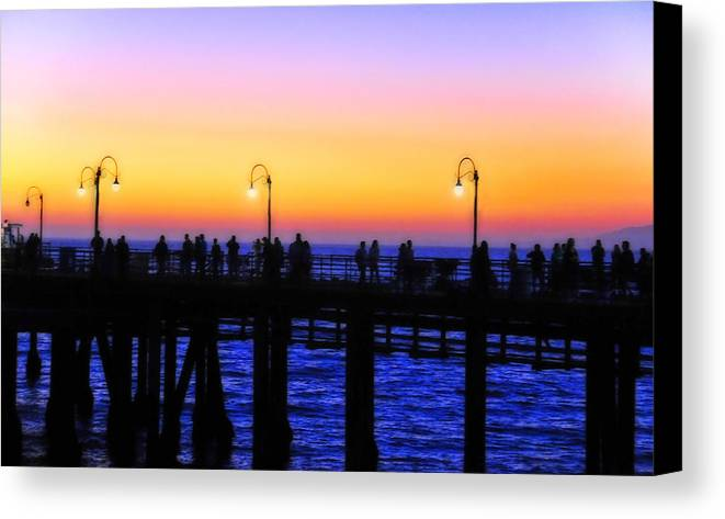 Landscape Canvas Print featuring the photograph Santa Monica Pier Sunset Silhouettes by Lynn Bauer