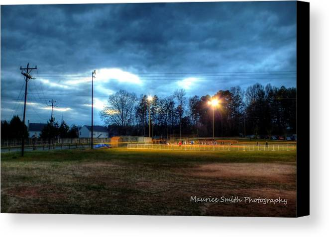 Landscape Canvas Print featuring the photograph Softball Night At Matthews Elementary School by Maurice Smith