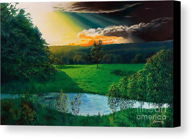 Sunset Canvas Print featuring the painting Sunset At L Hermitiere by Christian Simonian