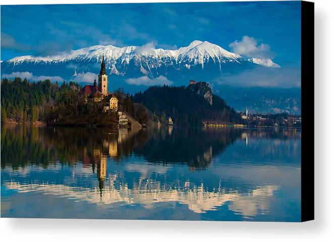 Lake Canvas Print featuring the photograph The Alps Bled by Jim Southwell