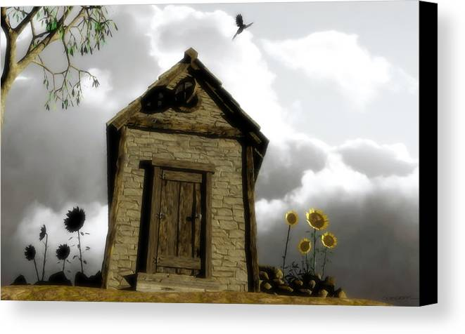 House Canvas Print featuring the digital art The House Of Light And Shadow by Cynthia Decker
