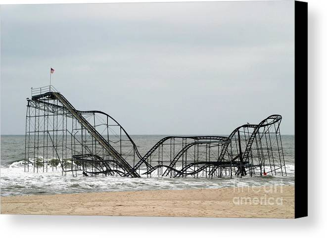 Iconic Canvas Print featuring the photograph The Jetstar Rollercoaster In Seaside Heights Nj by Living Color Photography Lorraine Lynch