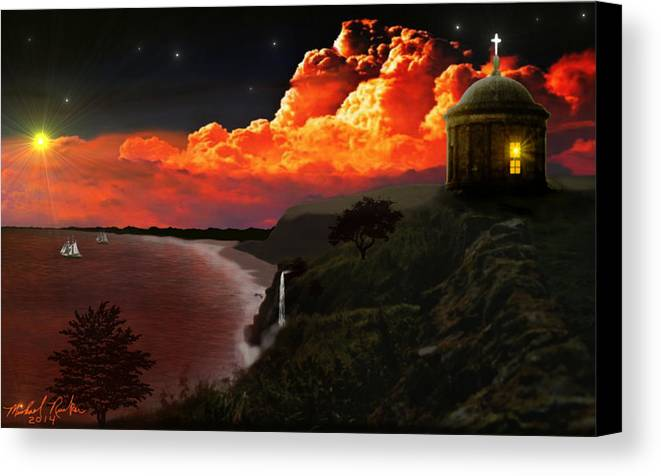 Ireland Canvas Print featuring the digital art The Mussenden Temple - Ireland by Michael Rucker