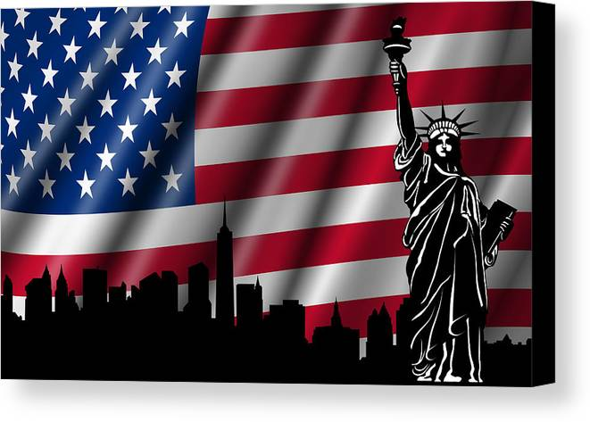 Usa Canvas Print featuring the photograph Usa American Flag With Statue Of Liberty Skyline Silhouette by David Gn