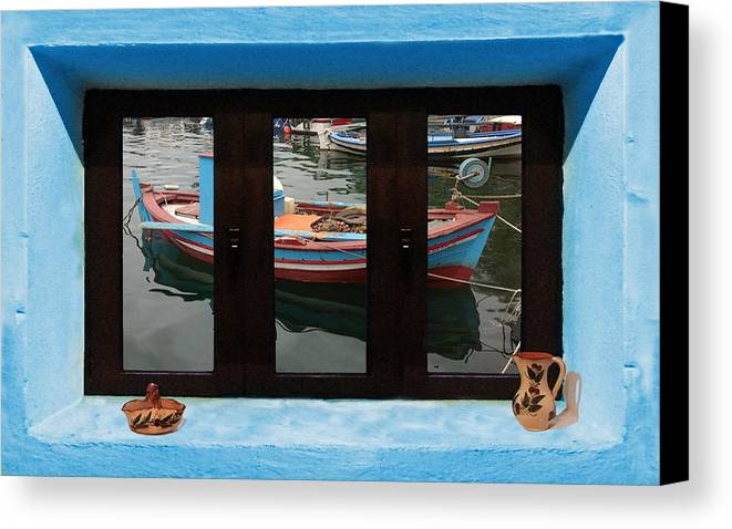 Window Into Greece Canvas Print featuring the photograph Window Into Greece 6 by Eric Kempson