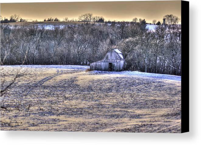 Barn Canvas Print featuring the photograph Winter Charm by Thomas Danilovich
