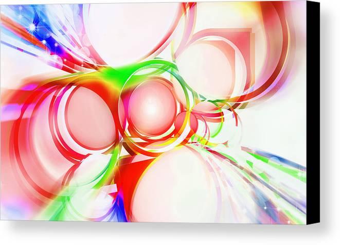 Rainbow Canvas Print featuring the painting Abstract Of Circle by Setsiri Silapasuwanchai