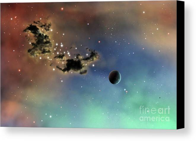 Artwork Canvas Print featuring the digital art A Lonely Planet Is Lit By Two Stars by Brian Christensen
