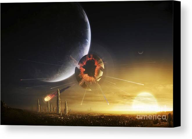 Cataclysm Canvas Print featuring the digital art An Apocalyptic Scene Showing A Gravity by Tobias Roetsch