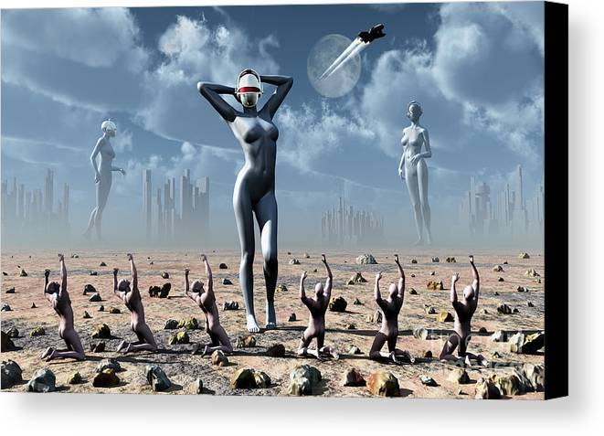 Religion Canvas Print featuring the digital art Artists Concept Of Mankinds Reliance by Mark Stevenson